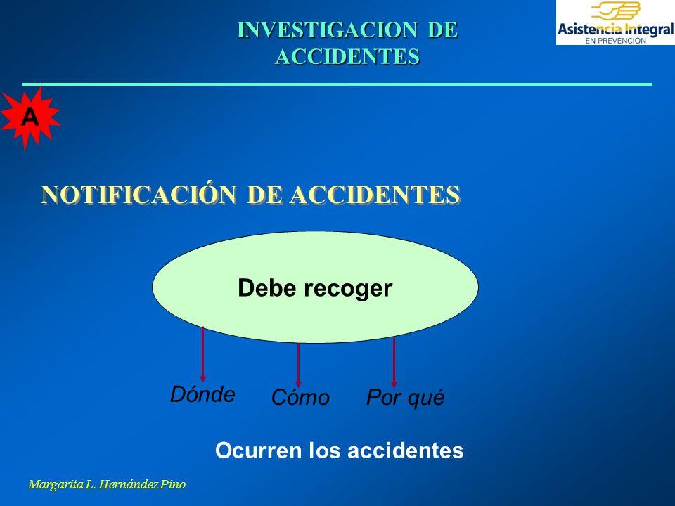 Margarita L. Hernández Pino INVESTIGACION DE ACCIDENTES NOTIFICACIÓN DE ACCIDENTES Debe recoger Dónde CómoPor qué Ocurren los accidentes A