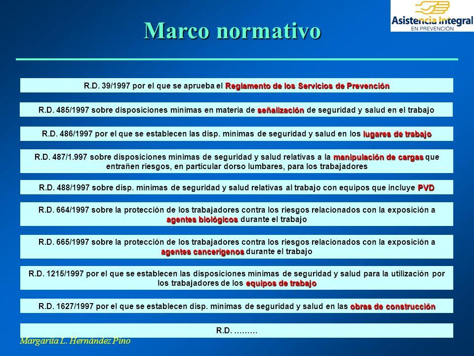 Margarita L. Hernández Pino Reglamento de los Servicios de Prevención R.D. 39/1997 por el que se aprueba el Reglamento de los Servicios de Prevención