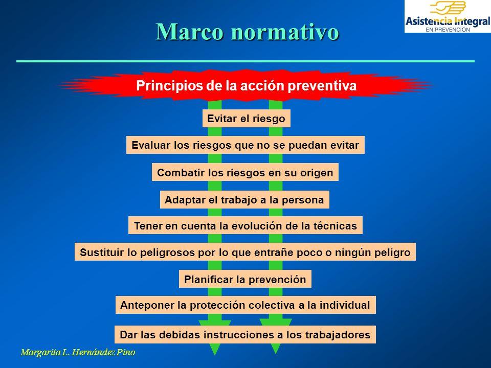 Margarita L. Hernández Pino Principios de la acción preventiva Planificar la prevención Evaluar los riesgos que no se puedan evitar Evitar el riesgo C