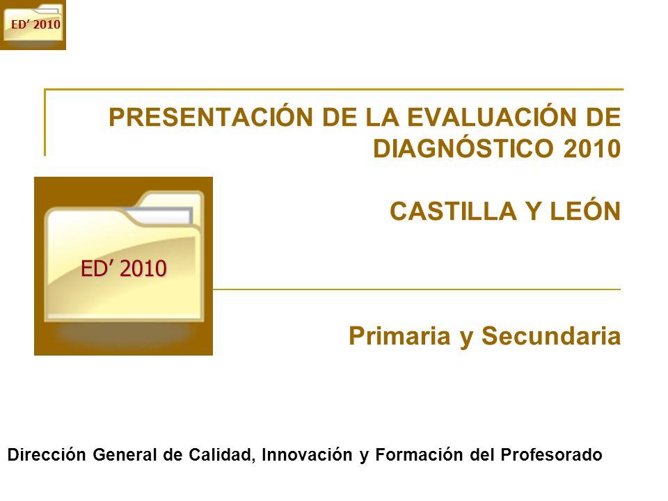 ED 2010 PRESENTACIÓN DE LA EVALUACIÓN DE DIAGNÓSTICO 2010 CASTILLA Y LEÓN Primaria y Secundaria Dirección General de Calidad, Innovación y Formación d