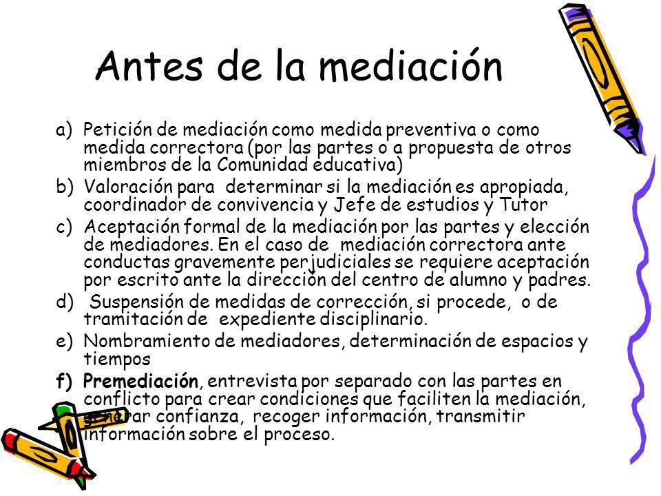 Antes de la mediación a)Petición de mediación como medida preventiva o como medida correctora (por las partes o a propuesta de otros miembros de la Co