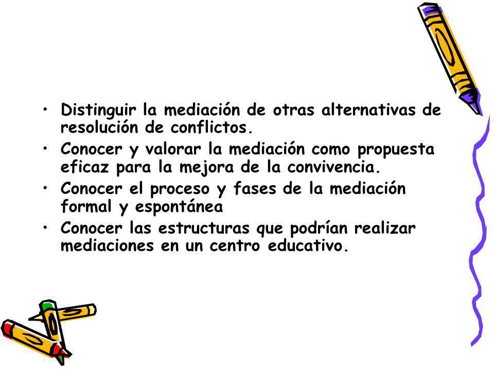 Distinguir la mediación de otras alternativas de resolución de conflictos. Conocer y valorar la mediación como propuesta eficaz para la mejora de la c