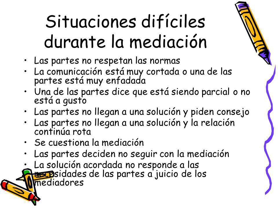 Situaciones difíciles durante la mediación Las partes no respetan las normas La comunicación está muy cortada o una de las partes está muy enfadada Un