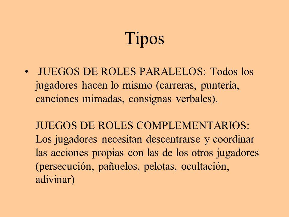Tipos JUEGOS DE ROLES PARALELOS: Todos los jugadores hacen lo mismo (carreras, puntería, canciones mimadas, consignas verbales). JUEGOS DE ROLES COMPL