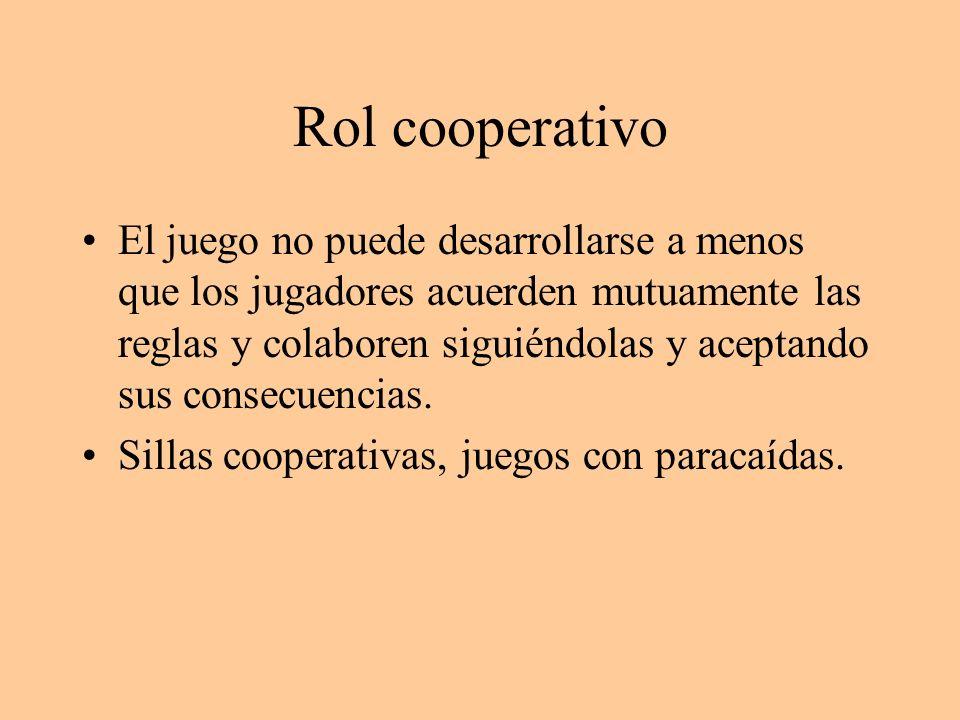 Rol cooperativo El juego no puede desarrollarse a menos que los jugadores acuerden mutuamente las reglas y colaboren siguiéndolas y aceptando sus cons