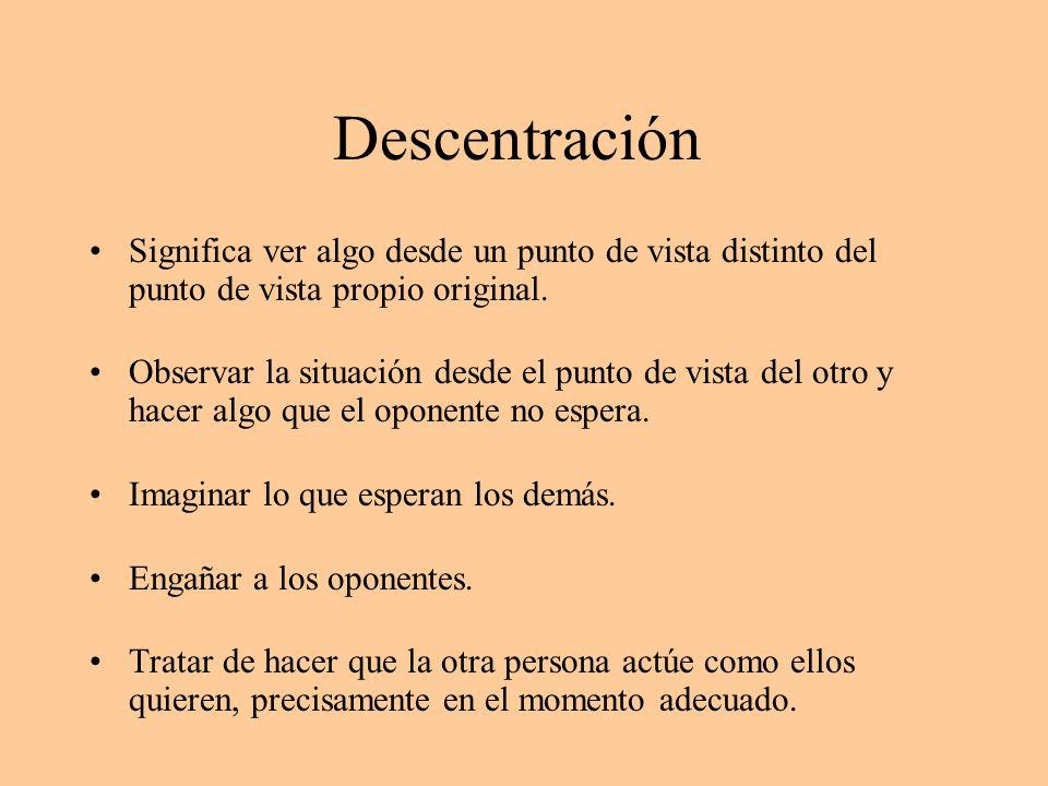 Descentración Significa ver algo desde un punto de vista distinto del punto de vista propio original. Observar la situación desde el punto de vista de