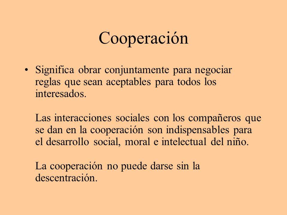 Cooperación Significa obrar conjuntamente para negociar reglas que sean aceptables para todos los interesados. Las interacciones sociales con los comp