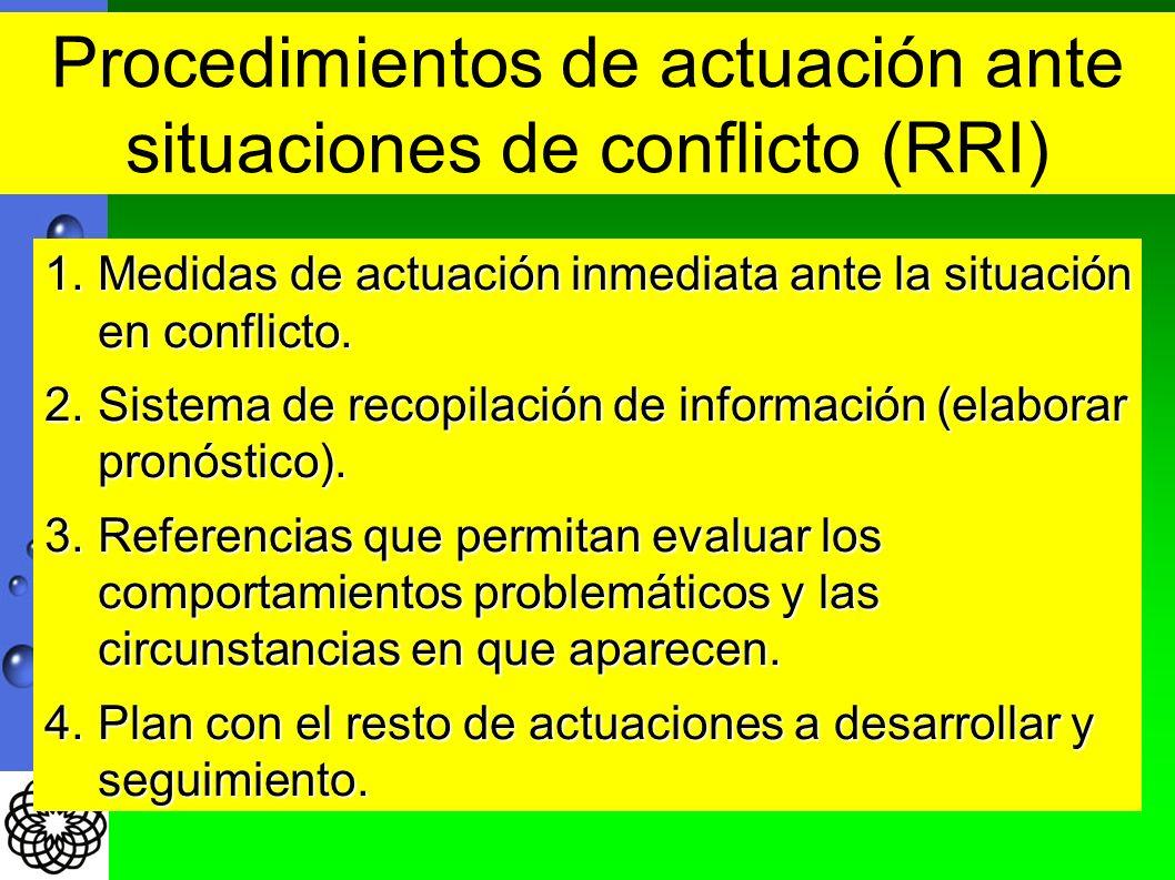 1.Medidas de actuación inmediata ante la situación en conflicto. 2.Sistema de recopilación de información (elaborar pronóstico). 3.Referencias que per
