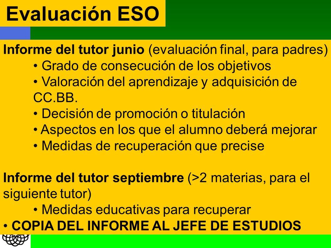 Evaluación ESO Informe del tutor junio (evaluación final, para padres) Grado de consecución de los objetivos Valoración del aprendizaje y adquisición