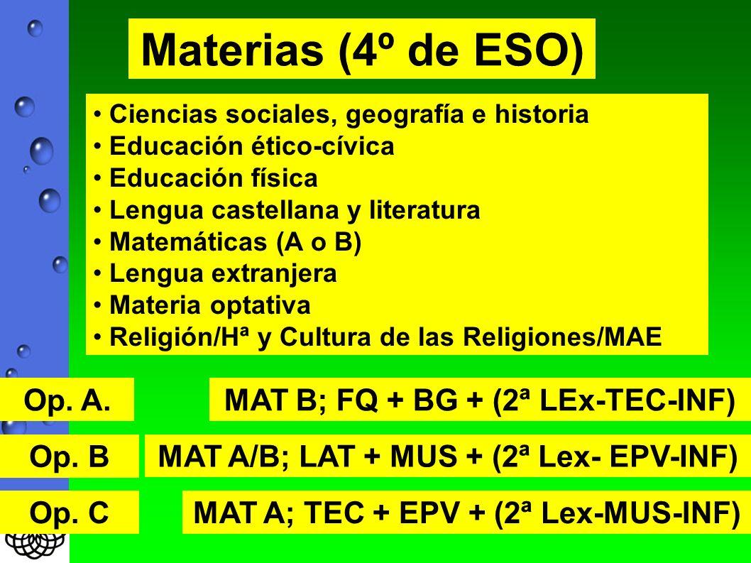 Materias (4º de ESO) Ciencias sociales, geografía e historia Educación ético-cívica Educación física Lengua castellana y literatura Matemáticas (A o B