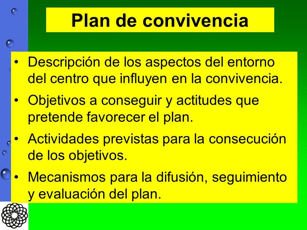 Descripción de los aspectos del entorno del centro que influyen en la convivencia. Objetivos a conseguir y actitudes que pretende favorecer el plan. A