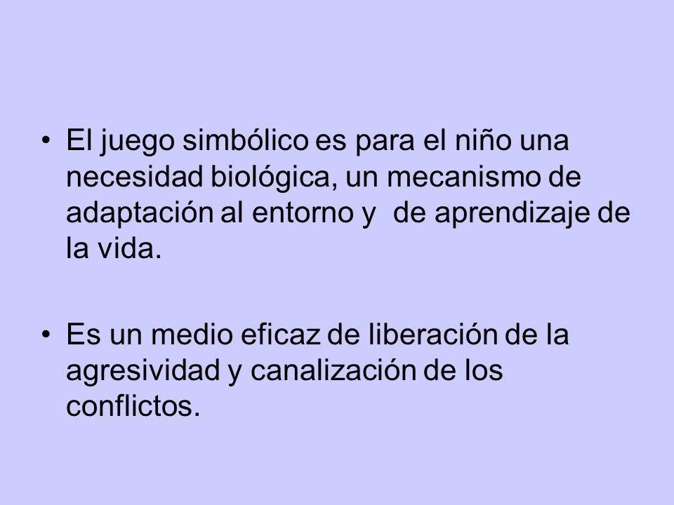 El juego simbólico es para el niño una necesidad biológica, un mecanismo de adaptación al entorno y de aprendizaje de la vida. Es un medio eficaz de l