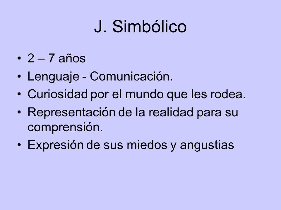 J. Simbólico 2 – 7 años Lenguaje - Comunicación. Curiosidad por el mundo que les rodea. Representación de la realidad para su comprensión. Expresión d