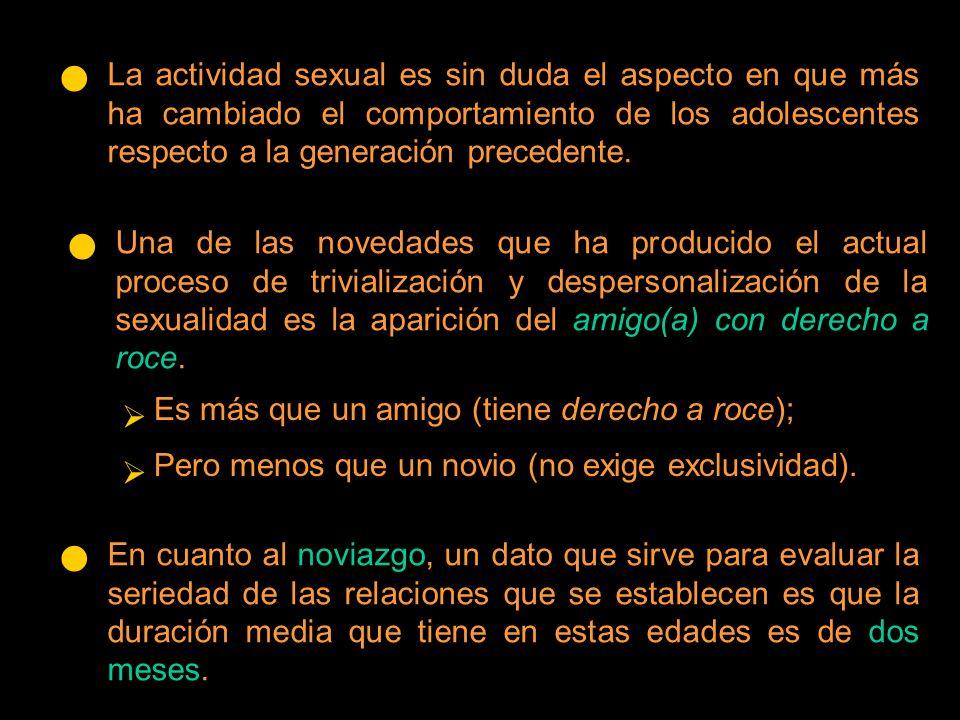 Una de las novedades que ha producido el actual proceso de trivialización y despersonalización de la sexualidad es la aparición del amigo(a) con derecho a roce.