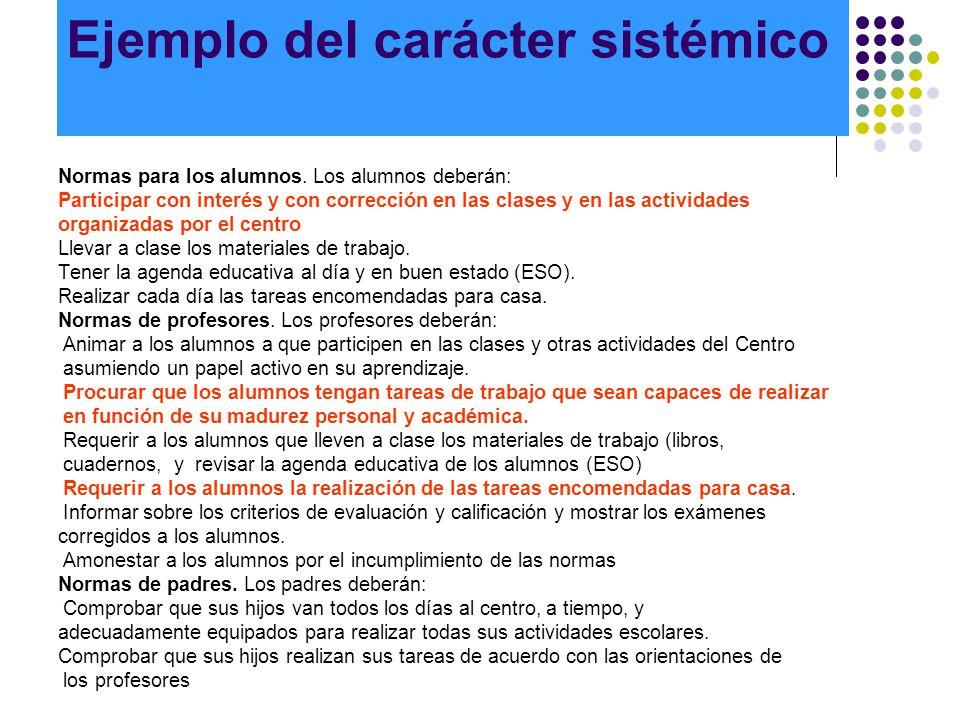 Ejemplo del carácter sistémico Normas para los alumnos. Los alumnos deberán: Participar con interés y con corrección en las clases y en las actividade