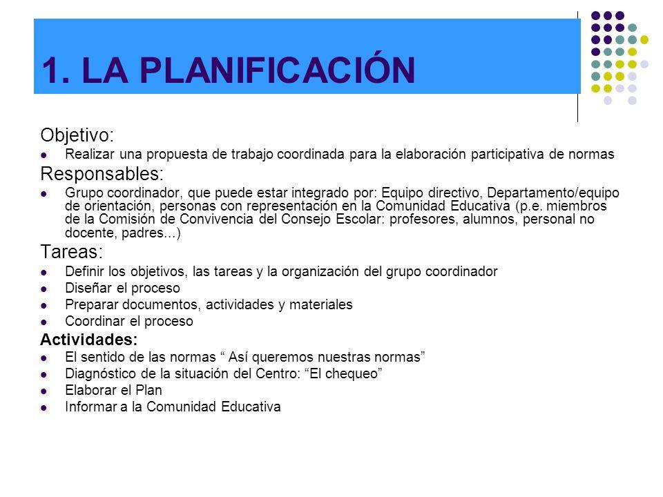1. LA PLANIFICACIÓN Objetivo: Realizar una propuesta de trabajo coordinada para la elaboración participativa de normas Responsables: Grupo coordinador