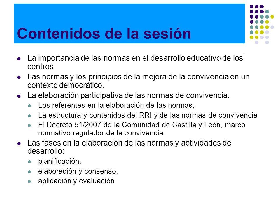 Contenidos de la sesión La importancia de las normas en el desarrollo educativo de los centros Las normas y los principios de la mejora de la conviven
