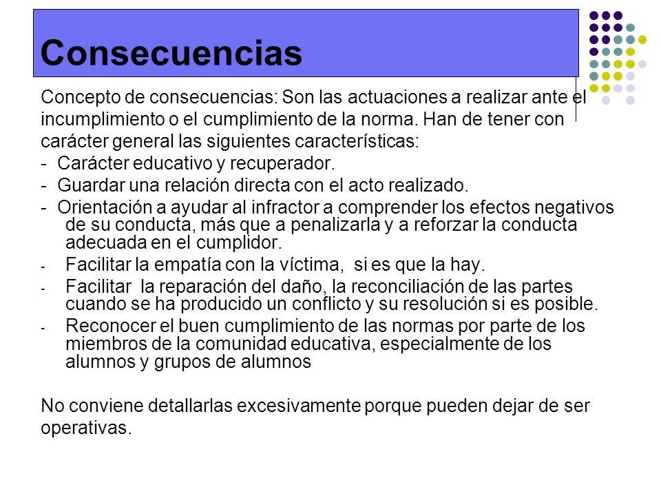 Consecuencias Concepto de consecuencias: Son las actuaciones a realizar ante el incumplimiento o el cumplimiento de la norma. Han de tener con carácte
