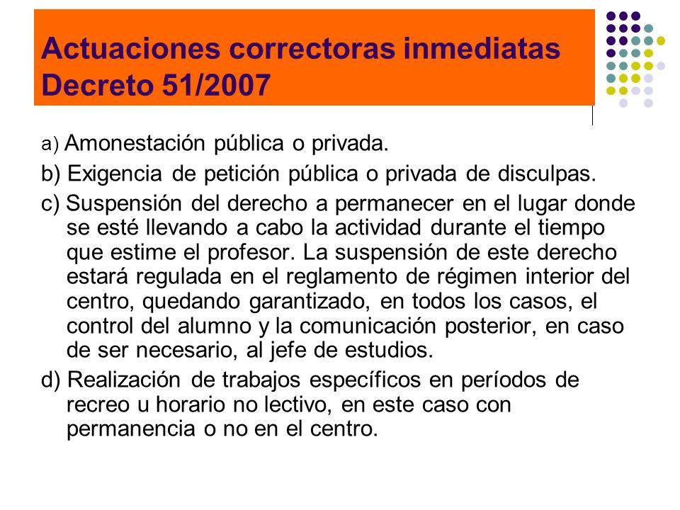 Actuaciones correctoras inmediatas Decreto 51/2007 a) Amonestación pública o privada. b) Exigencia de petición pública o privada de disculpas. c) Susp