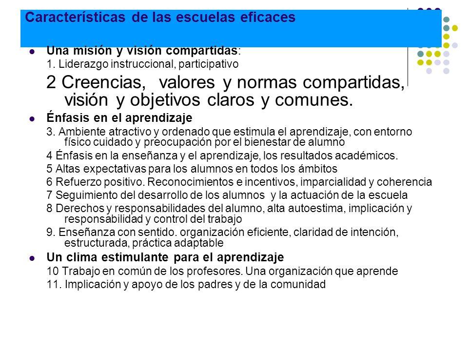 Características de las escuelas eficaces Una misión y visión compartidas: 1. Liderazgo instruccional, participativo 2 Creencias, valores y normas comp