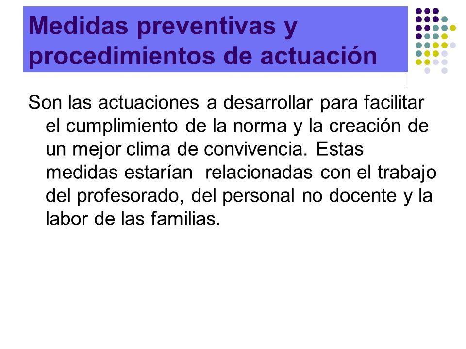 Medidas preventivas y procedimientos de actuación Son las actuaciones a desarrollar para facilitar el cumplimiento de la norma y la creación de un mej