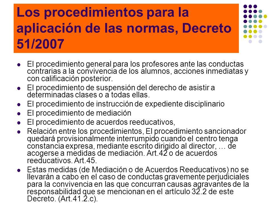Los procedimientos para la aplicación de las normas, Decreto 51/2007 El procedimiento general para los profesores ante las conductas contrarias a la c