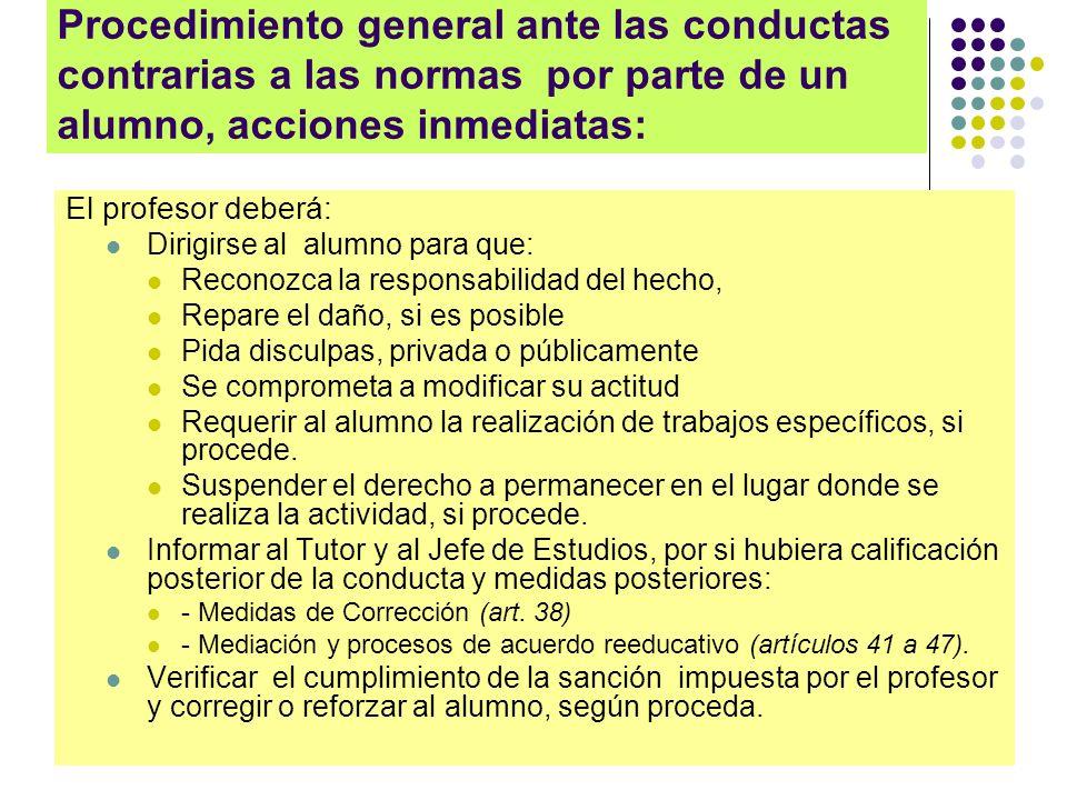 Procedimiento general ante las conductas contrarias a las normas por parte de un alumno, acciones inmediatas: El profesor deberá: Dirigirse al alumno