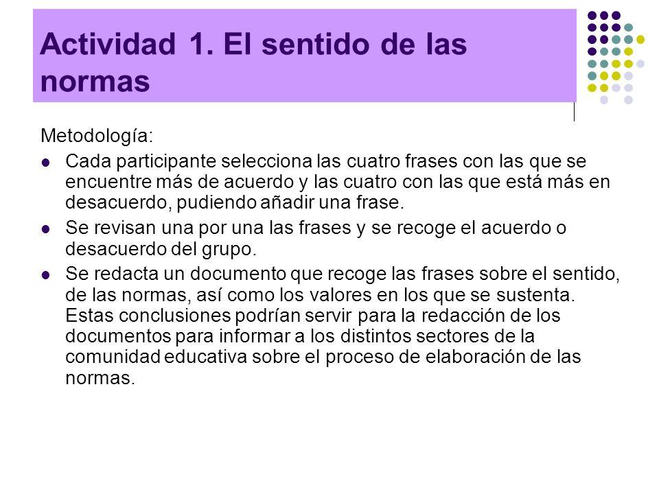 Actividad 1. El sentido de las normas Metodología: Cada participante selecciona las cuatro frases con las que se encuentre más de acuerdo y las cuatro