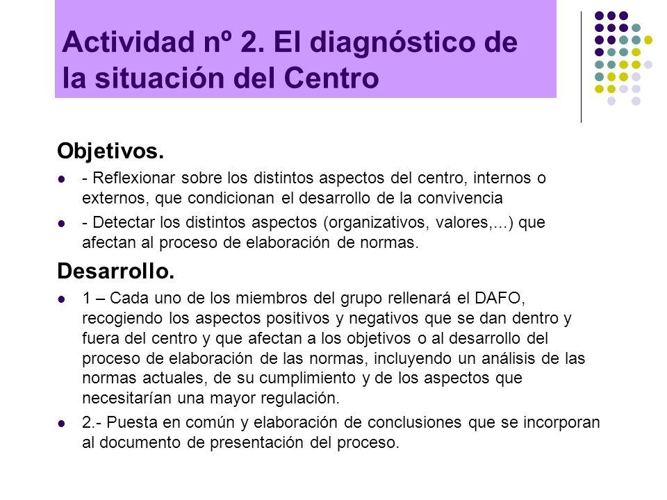 Actividad nº 2. El diagnóstico de la situación del Centro Objetivos. - Reflexionar sobre los distintos aspectos del centro, internos o externos, que c