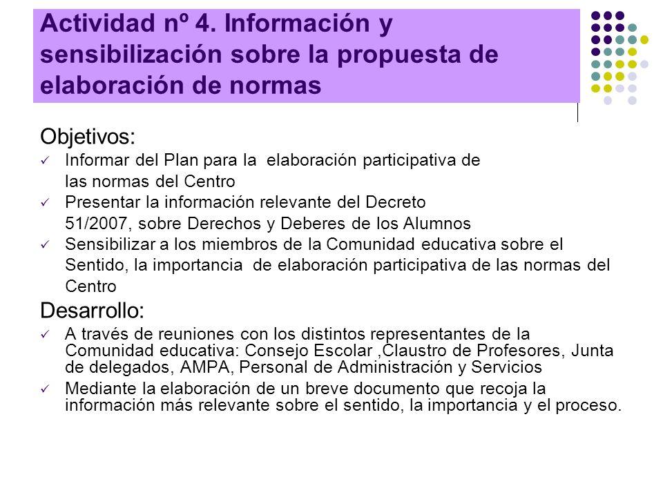 Actividad nº 4. Información y sensibilización sobre la propuesta de elaboración de normas Objetivos: Informar del Plan para la elaboración participati