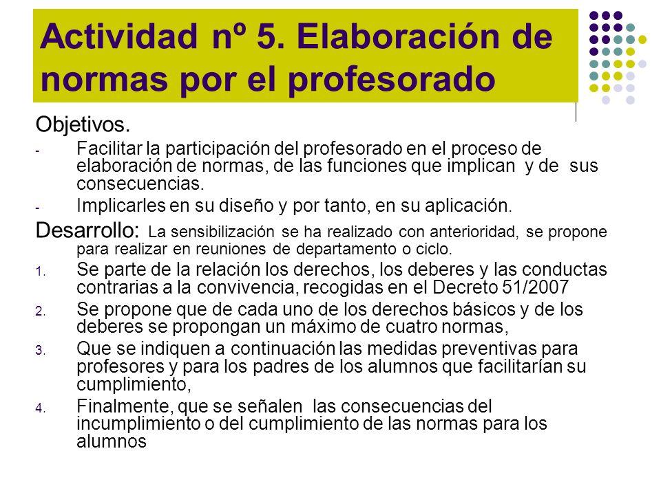 Actividad nº 5. Elaboración de normas por el profesorado Objetivos. - Facilitar la participación del profesorado en el proceso de elaboración de norma