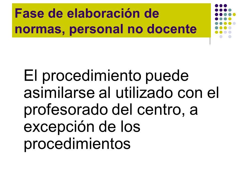 Fase de elaboración de normas, personal no docente El procedimiento puede asimilarse al utilizado con el profesorado del centro, a excepción de los pr