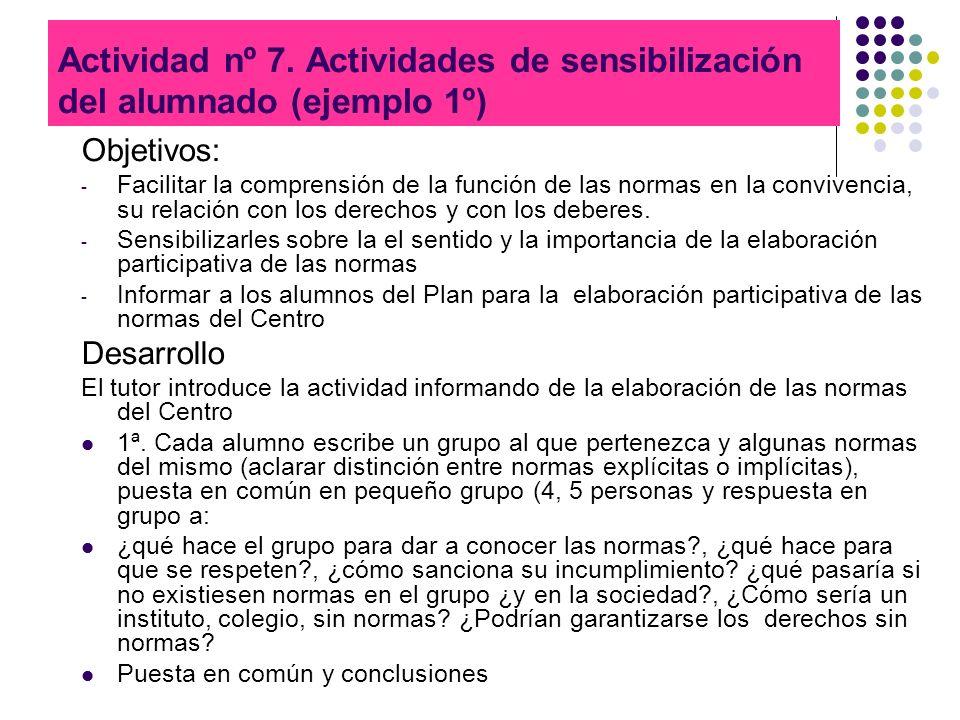 Actividad nº 7. Actividades de sensibilización del alumnado (ejemplo 1º) Objetivos: - Facilitar la comprensión de la función de las normas en la convi