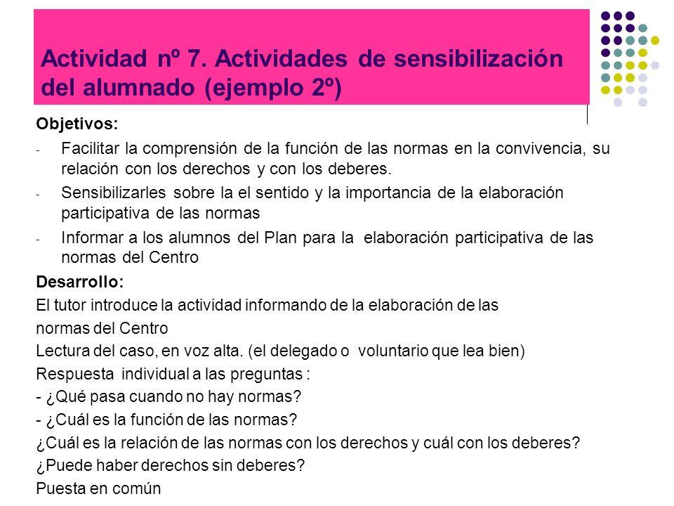 Actividad nº 7. Actividades de sensibilización del alumnado (ejemplo 2º) Objetivos: - Facilitar la comprensión de la función de las normas en la convi