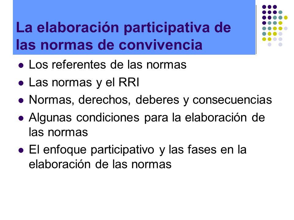 Los referentes de las normas Las normas y el RRI Normas, derechos, deberes y consecuencias Algunas condiciones para la elaboración de las normas El en