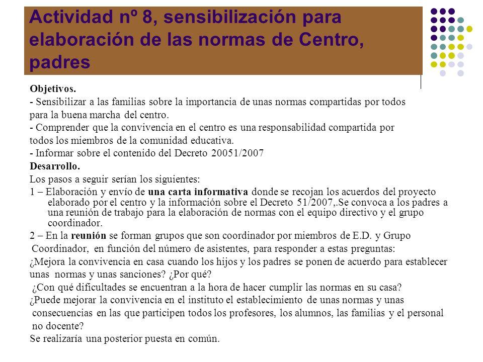 Actividad nº 8, sensibilización para elaboración de las normas de Centro, padres Objetivos. - Sensibilizar a las familias sobre la importancia de unas