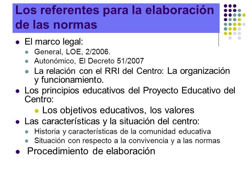 Los referentes para la elaboración de las normas El marco legal: General, LOE, 2/2006. Autonómico, El Decreto 51/2007 La relación con el RRI del Centr