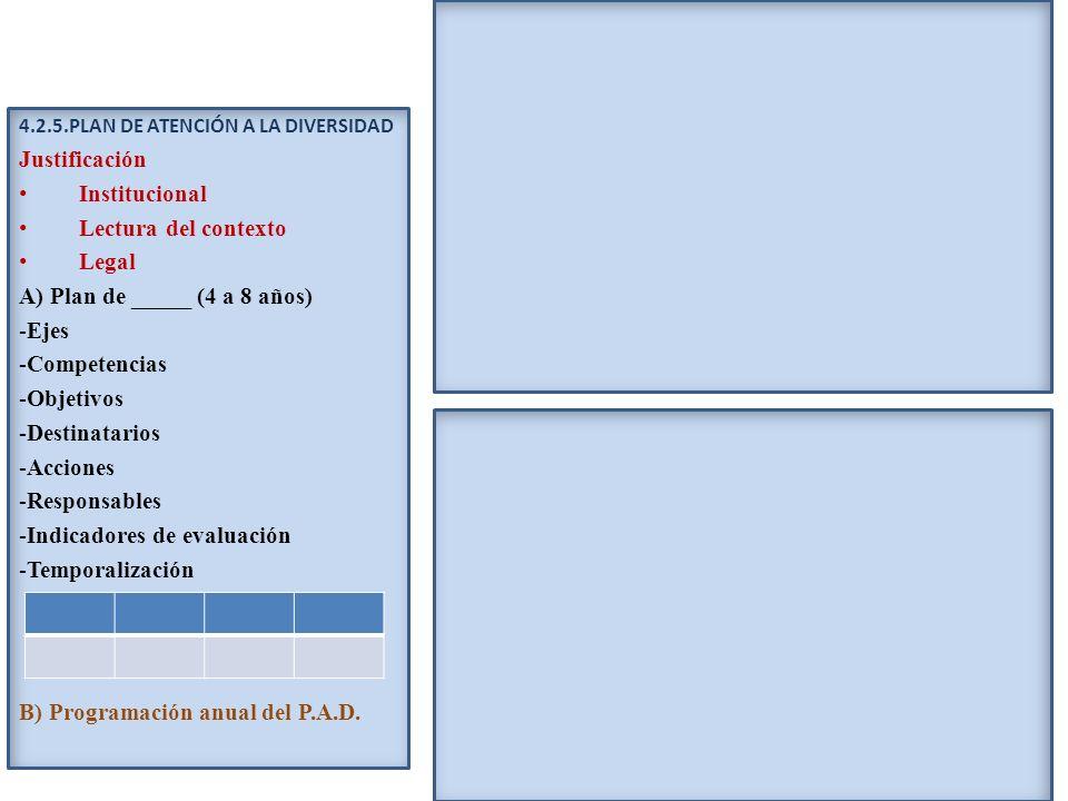 4.2.5.PLAN DE ATENCIÓN A LA DIVERSIDAD Justificación Institucional Lectura del contexto Legal A) Plan de _____ (4 a 8 años) -Ejes -Competencias -Objet
