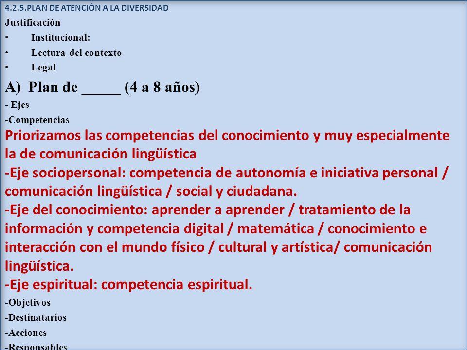 4.2.5.PLAN DE ATENCIÓN A LA DIVERSIDAD Justificación Institucional: Lectura del contexto Legal A)Plan de _____ (4 a 8 años) - Ejes -Competencias Prior