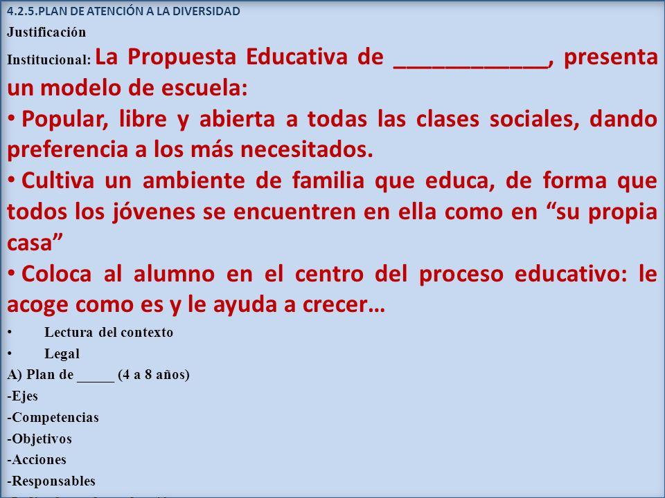 4.2.5.PLAN DE ATENCIÓN A LA DIVERSIDAD Justificación Institucional: La Propuesta Educativa de ____________, presenta un modelo de escuela: Popular, li