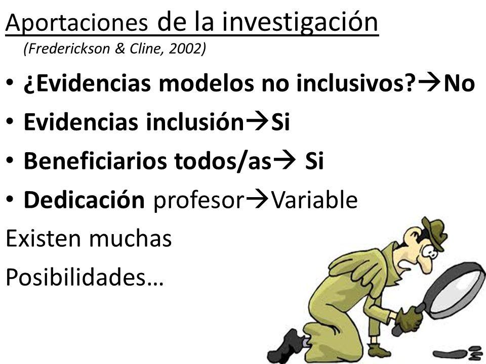 Aportaciones de la investigación (Frederickson & Cline, 2002) ¿Evidencias modelos no inclusivos? No Evidencias inclusión Si Beneficiarios todos/as Si