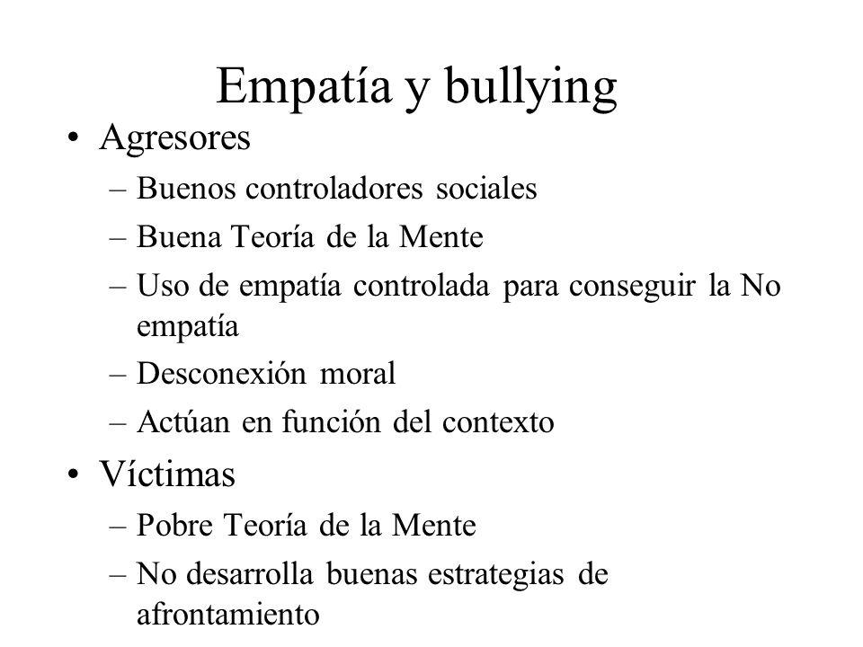 Empatía y bullying Agresores –Buenos controladores sociales –Buena Teoría de la Mente –Uso de empatía controlada para conseguir la No empatía –Descone