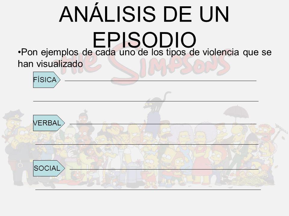 ANÁLISIS DE UN EPISODIO Pon ejemplos de cada uno de los tipos de violencia que se han visualizado FÍSICA VERBAL SOCIAL