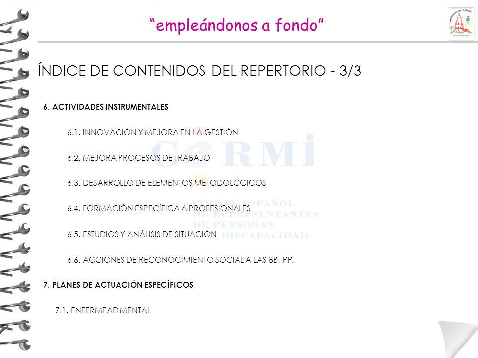 empleándonos a fondo ÍNDICE DE CONTENIDOS DEL REPERTORIO - 3/3 6. ACTIVIDADES INSTRUMENTALES 6.1. INNOVACIÓN Y MEJORA EN LA GESTIÓN 6.2. MEJORA PROCES