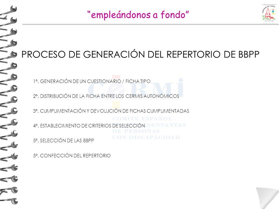 PROCESO DE GENERACIÓN DEL REPERTORIO DE BBPP 1º. GENERACIÓN DE UN CUESTIONARIO / FICHA TIPO 2º. DISTRIBUCIÓN DE LA FICHA ENTRE LOS CERMIS AUTONÓMICOS