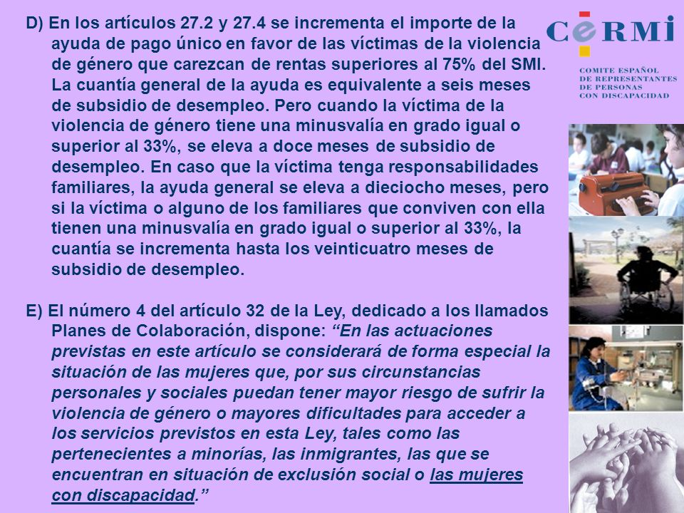 D) En los artículos 27.2 y 27.4 se incrementa el importe de la ayuda de pago único en favor de las víctimas de la violencia de género que carezcan de