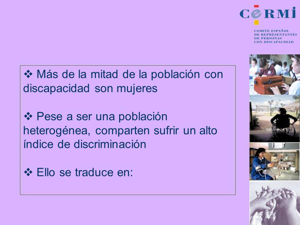 Más de la mitad de la población con discapacidad son mujeres Pese a ser una población heterogénea, comparten sufrir un alto índice de discriminación E
