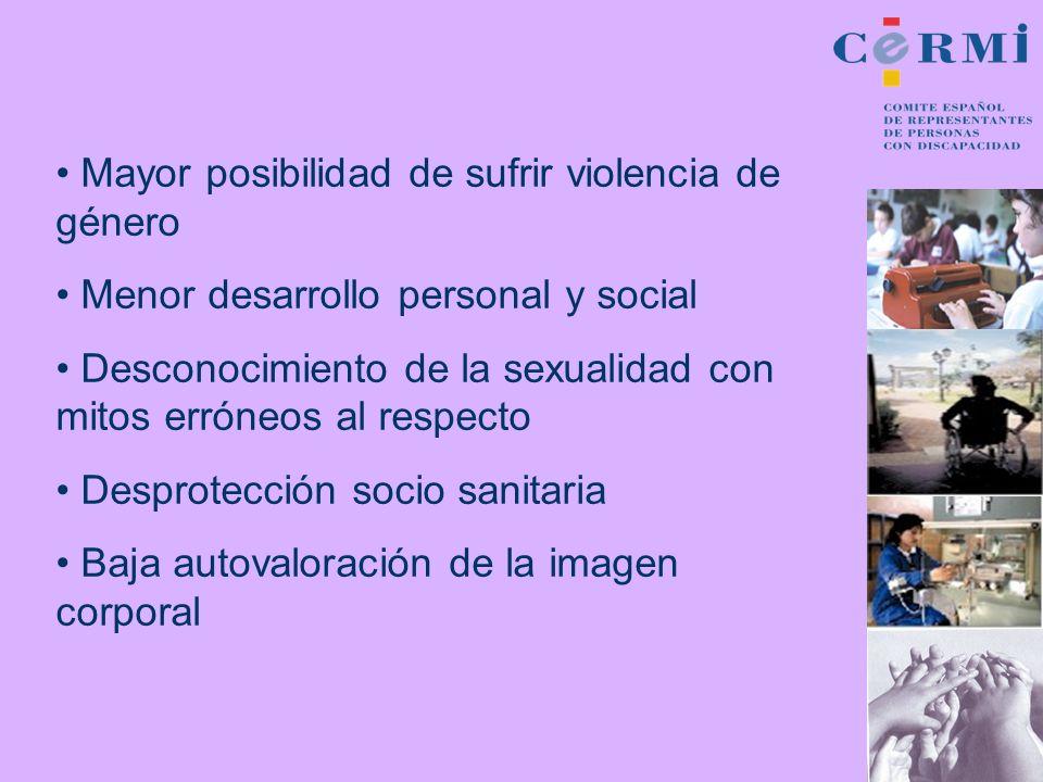 Mayor posibilidad de sufrir violencia de género Menor desarrollo personal y social Desconocimiento de la sexualidad con mitos erróneos al respecto Des