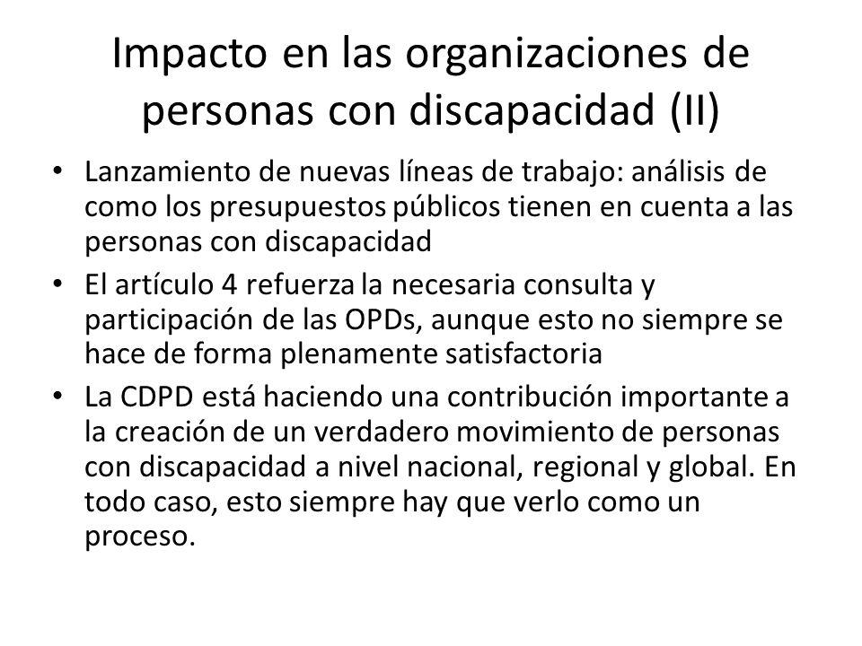 Impacto en las organizaciones de personas con discapacidad (II) Lanzamiento de nuevas líneas de trabajo: análisis de como los presupuestos públicos ti