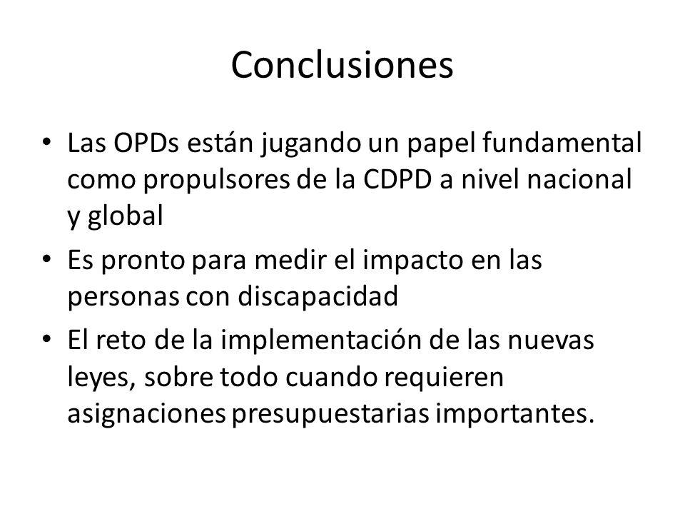 Conclusiones Las OPDs están jugando un papel fundamental como propulsores de la CDPD a nivel nacional y global Es pronto para medir el impacto en las